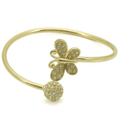 LO1179 - Gold Brass Bangle with Top Grade Crystal  in Clear