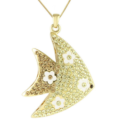 LO1198 - Gold Brass Pendant with Top Grade Crystal  in Multi Color