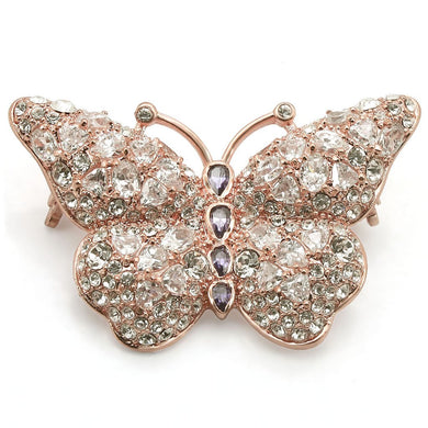 LO1227 - Rose Gold Brass Brooches with AAA Grade CZ  in Amethyst