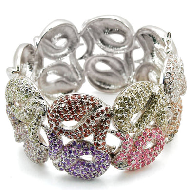 LO1278 - Rhodium Brass Bangle with AAA Grade CZ  in Multi Color
