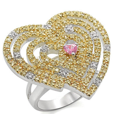 LO1337 - Reverse Two-Tone Brass Ring with AAA Grade CZ  in Rose