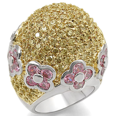 LO1338 - Reverse Two-Tone Brass Ring with AAA Grade CZ  in Rose