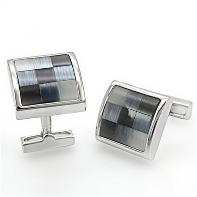 LO1371 - Rhodium Brass Cufflink with Semi-Precious Cat Eye in Multi Color