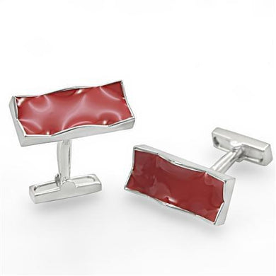 LO1372 - Rhodium Brass Cufflink with No Stone