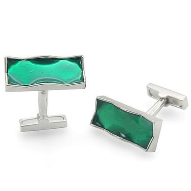 LO1374 - Rhodium Brass Cufflink with No Stone