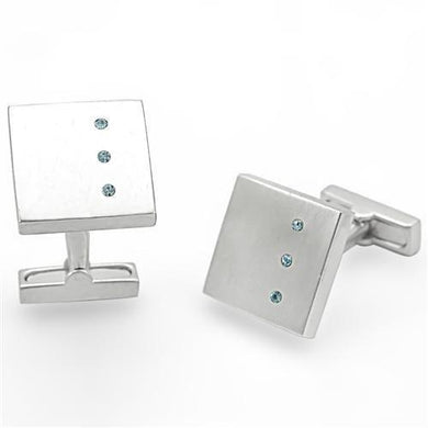 LO1382 - Rhodium Brass Cufflink with Top Grade Crystal  in Sea Blue