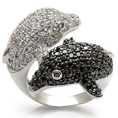 LO1481 - Rhodium + Ruthenium Brass Ring with AAA Grade CZ  in Black Diamond