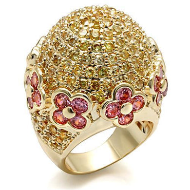LO1489 - Imitation Gold Brass Ring with AAA Grade CZ  in Rose