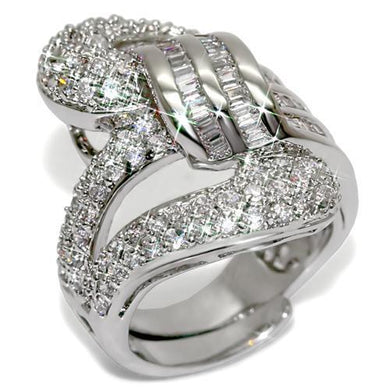 LO1537 - Rhodium Brass Ring with AAA Grade CZ  in Clear