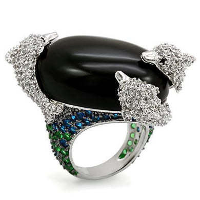 LO1547 - Rhodium + Ruthenium Brass Ring with AAA Grade CZ  in Multi Color