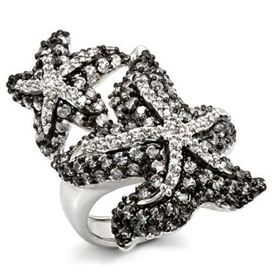 LO1581 - Rhodium + Ruthenium Brass Ring with AAA Grade CZ  in Clear