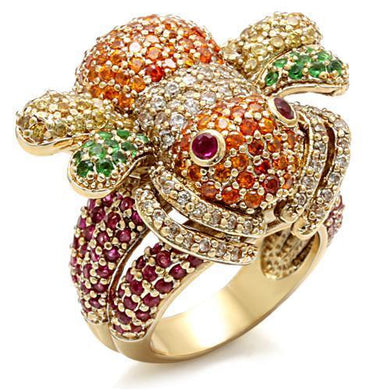 LO1603 - Imitation Gold Brass Ring with Synthetic Corundum in Ruby