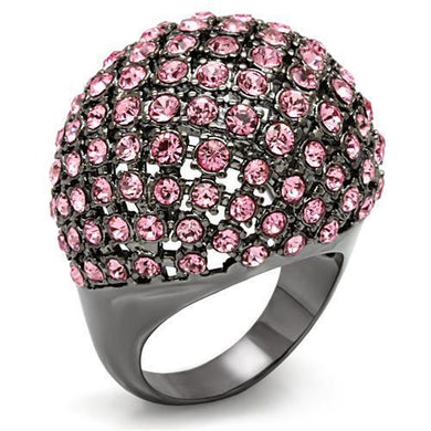 LO1615 - TIN Cobalt Black Brass Ring with Top Grade Crystal  in Light Rose