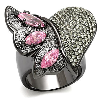 LO1620 - TIN Cobalt Black Brass Ring with AAA Grade CZ  in Rose