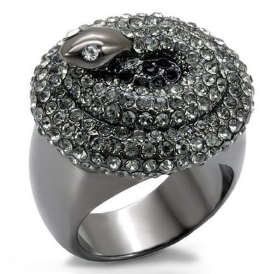 LO1675 - TIN Cobalt Black Brass Ring with Top Grade Crystal  in Multi Color