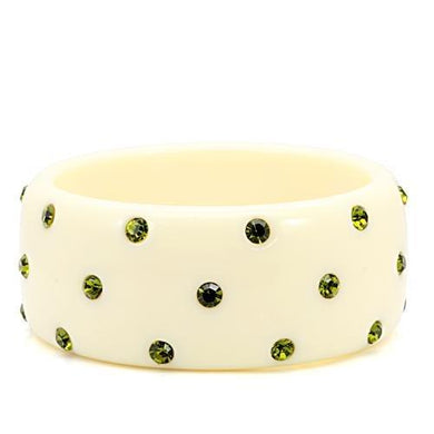 LO1904 -  Resin Bangle with Top Grade Crystal  in Olivine color