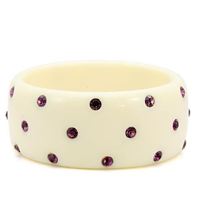LO1906 -  Resin Bangle with Top Grade Crystal  in Amethyst