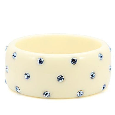 LO1907 -  Resin Bangle with Top Grade Crystal  in Light Sapphire