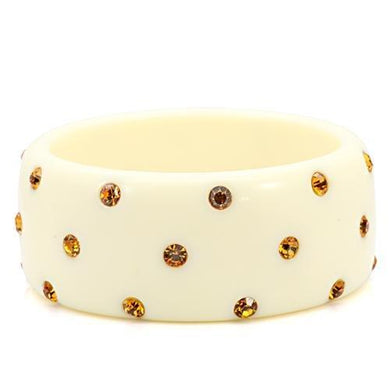 LO1908 -  Resin Bangle with Top Grade Crystal  in Topaz