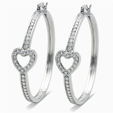 LO1941 - Rhodium Brass Earrings with AAA Grade CZ  in Clear