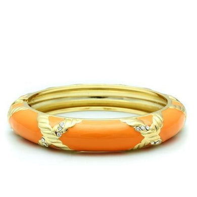 LO1956 - Gold White Metal Bangle with Top Grade Crystal  in Clear