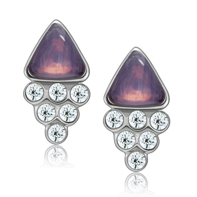 LO1979 - Rhodium White Metal Earrings with Top Grade Crystal  in Clear