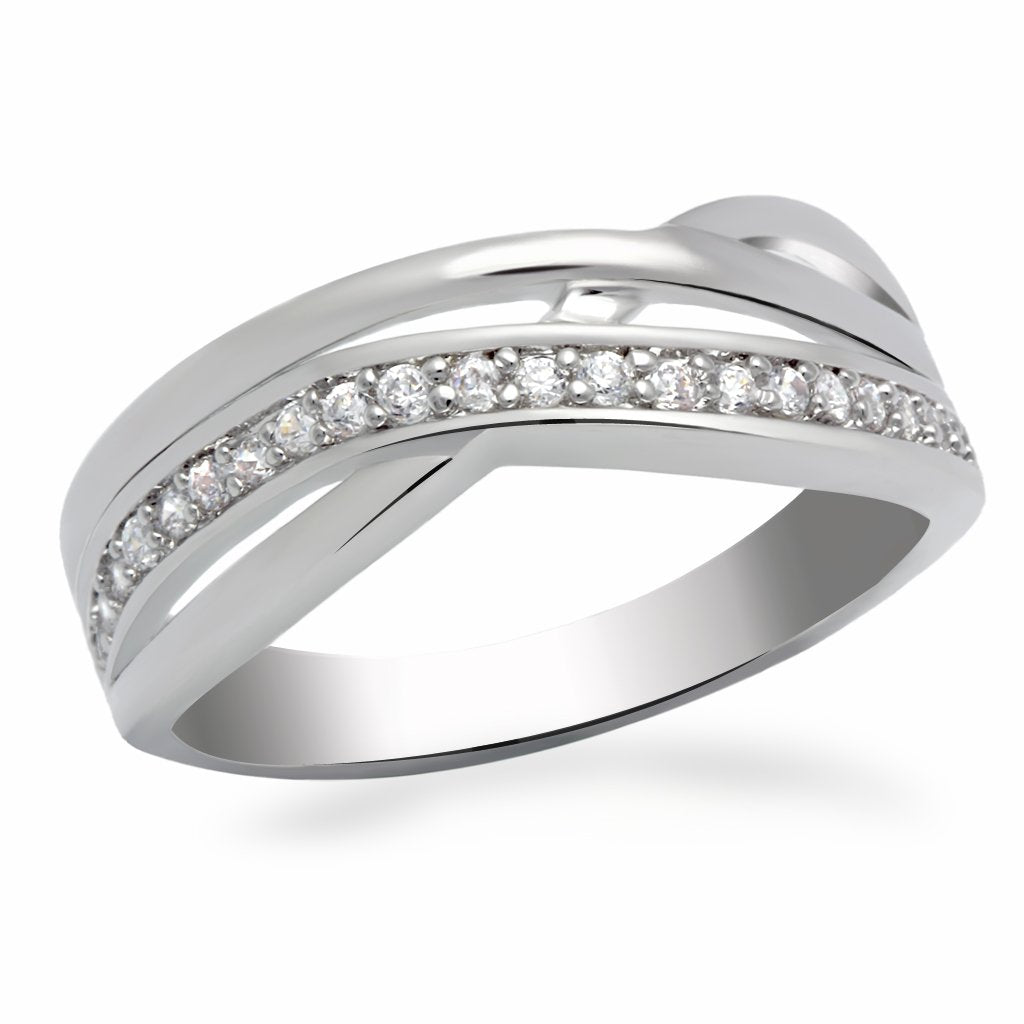 LO2058 - Rhodium Brass Ring with AAA Grade CZ  in Clear
