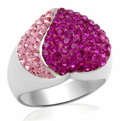 LO2082 - Rhodium Brass Ring with Top Grade Crystal  in Multi Color