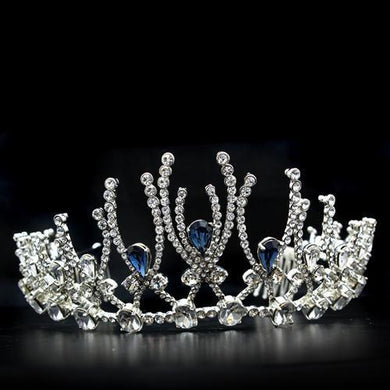 LO2107 - Imitation Rhodium Brass Tiaras & Hair Clip with Top Grade Crystal  in Montana