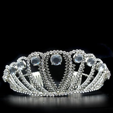 LO2108 - Imitation Rhodium Brass Tiaras & Hair Clip with Top Grade Crystal  in Clear