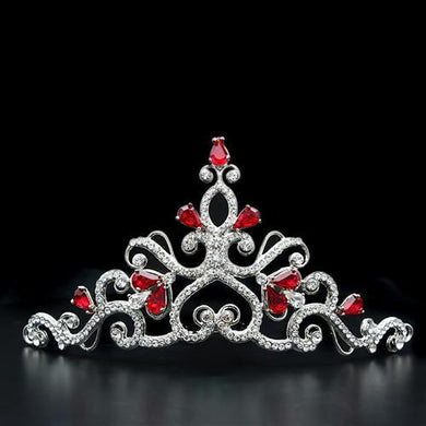 LO2109 - Imitation Rhodium Brass Tiaras & Hair Clip with Top Grade Crystal  in Ruby