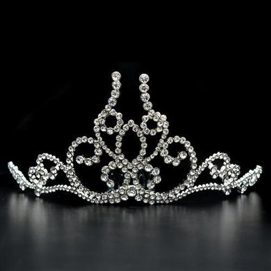 LO2112 - Imitation Rhodium Brass Tiaras & Hair Clip with Top Grade Crystal  in Clear