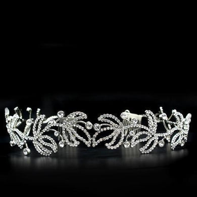 LO2115 - Imitation Rhodium Brass Tiaras & Hair Clip with Top Grade Crystal  in Clear