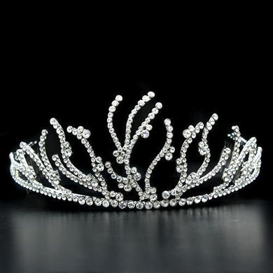 LO2117 - Imitation Rhodium Brass Tiaras & Hair Clip with Top Grade Crystal  in Clear