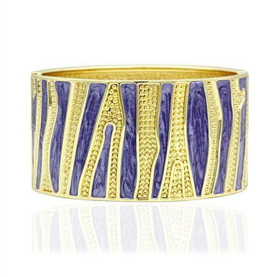 LO2118 - Flash Gold White Metal Bangle with Epoxy  in No Stone