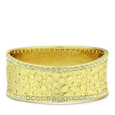 LO2119 - Flash Gold White Metal Bangle with Top Grade Crystal  in Clear