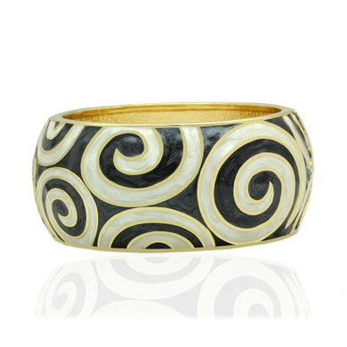LO2126 - Flash Gold White Metal Bangle with Epoxy  in No Stone