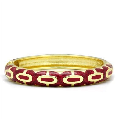 LO2130 - Flash Gold White Metal Bangle with Epoxy  in No Stone