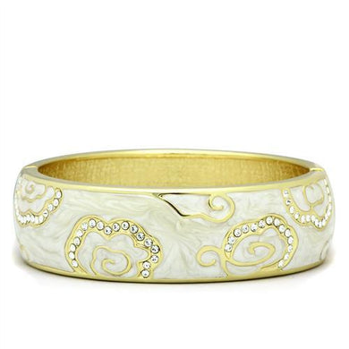 LO2131 - Flash Gold White Metal Bangle with Top Grade Crystal  in Clear