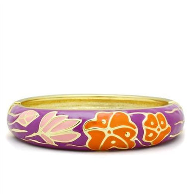 LO2133 - Flash Gold White Metal Bangle with Epoxy  in No Stone