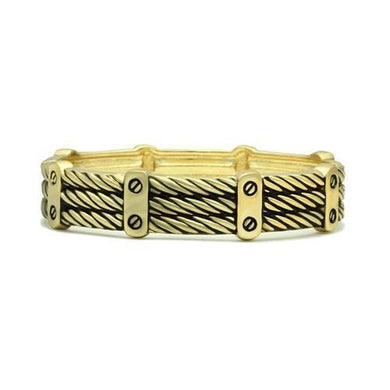 LO2135 - Flash Gold White Metal Bangle with No Stone