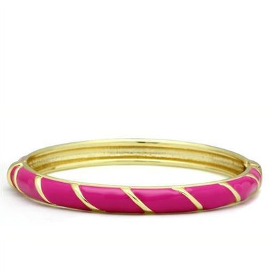 LO2139 - Flash Gold White Metal Bangle with Epoxy  in No Stone
