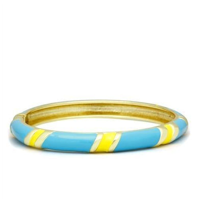 LO2143 - Flash Gold White Metal Bangle with Epoxy  in No Stone
