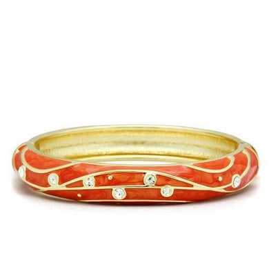 LO2144 - Flash Gold White Metal Bangle with Top Grade Crystal  in Clear