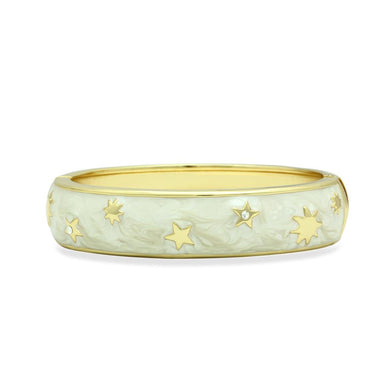 LO2146 - Flash Gold White Metal Bangle with Top Grade Crystal  in Clear