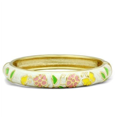 LO2149 - Flash Gold White Metal Bangle with Epoxy  in No Stone