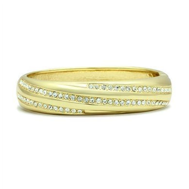 LO2150 - Flash Gold White Metal Bangle with Top Grade Crystal  in Clear