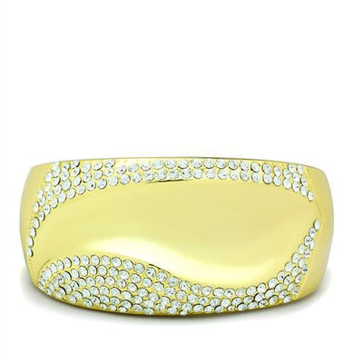 LO2155 - Flash Gold White Metal Bangle with Top Grade Crystal  in Clear
