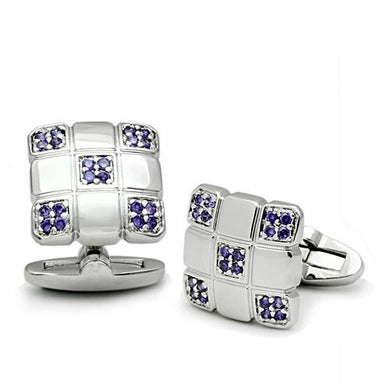 LO2296 - Rhodium Brass Cufflink with AAA Grade CZ  in Amethyst