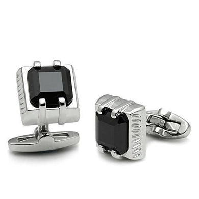 LO2305 - Rhodium Brass Cufflink with AAA Grade CZ  in Jet
